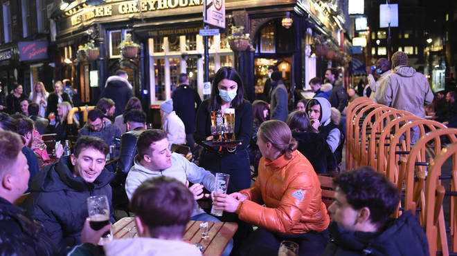 Pubs in England were allowed to open for the first time since January