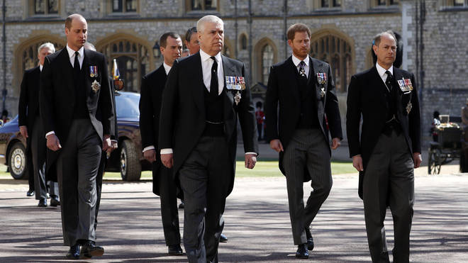 Prince Harry and Prince William join Prince Charles in the walking procession for Prince Philip