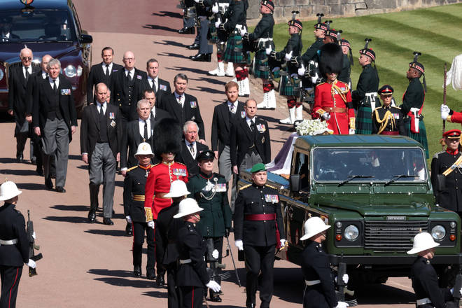 The procession travels to St George's Chapel for the funeral service