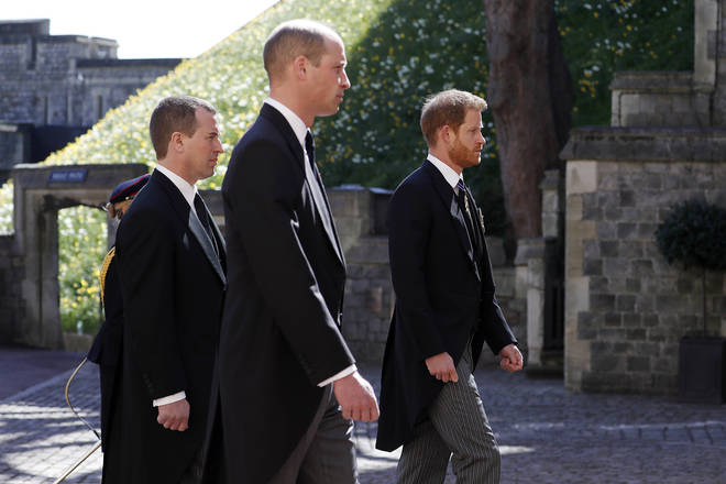 Peter Phillips walks between William and Harry in the procession