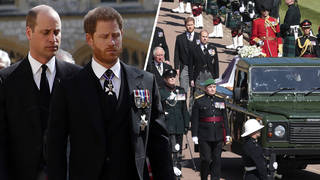 Prince William and Prince Harry lead procession at Prince Philip's funeral