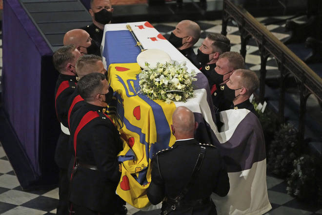 The Queen's special wreath was the only floral tribute on the Duke of Edinburgh's coffin