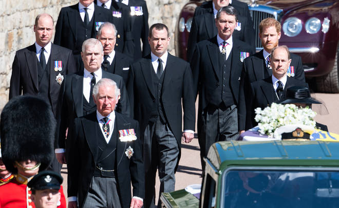 Senior members of the Royal family walked in procession behind the Duke's coffin
