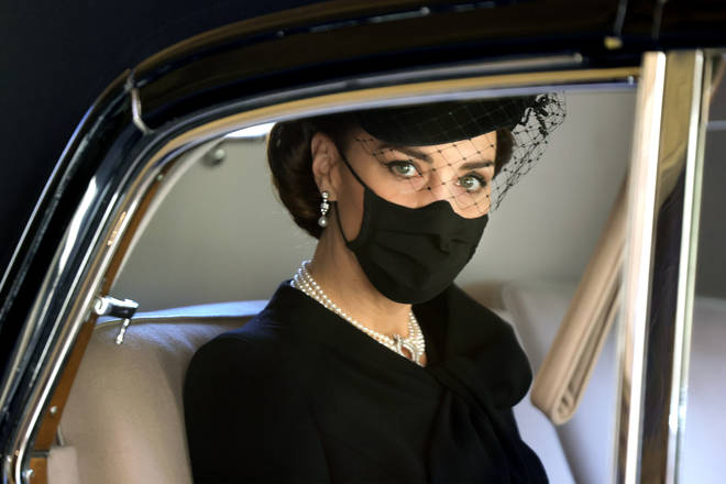 The Duchess of Cambridge pictured driving to the Chapel