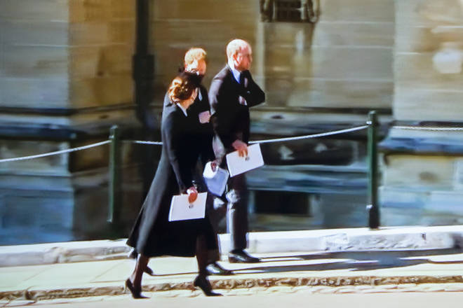 Prince Harry, Kate Middleton and Prince William chat as they leave St George's Chapel