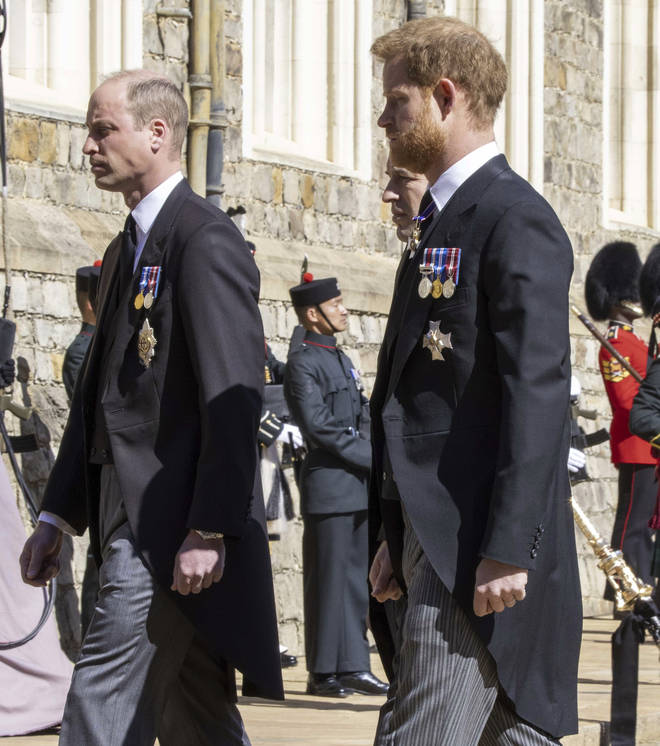 Prince Harry and Prince William walk in the procession behind Prince Philip's coffin