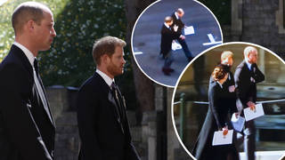 Prince Harry and Prince William reunite at Prince Philip's funeral as they're pictured talking