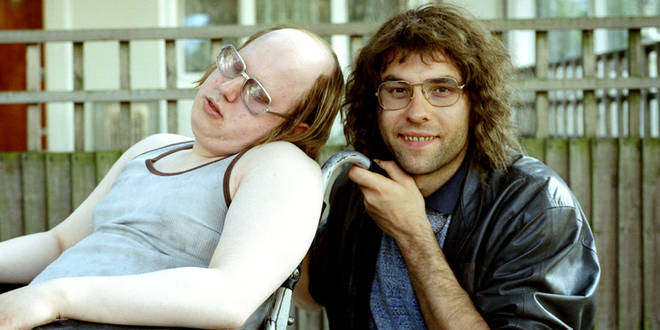 Walliams and Lucas in character as Lou and Andy on Little Britain