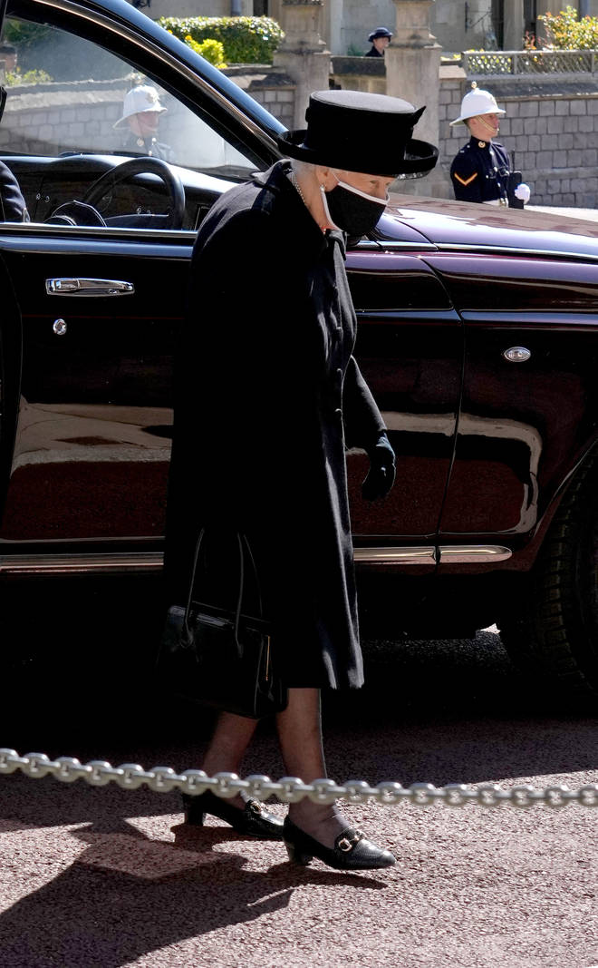 The Queen arrives at St George's Chapel for the funeral service of Prince Philip