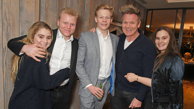 Gordon Ramsay with his eldest children