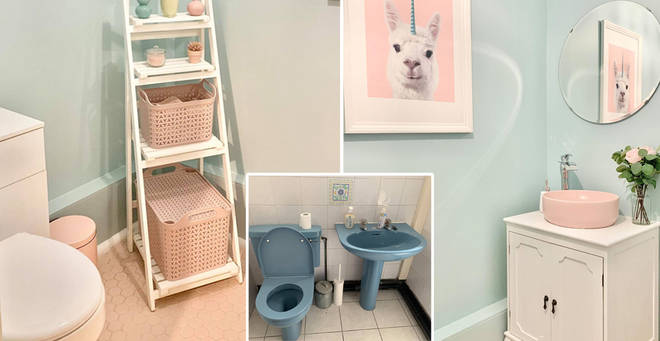 Emily gave her bathroom an incredible pastel makeover