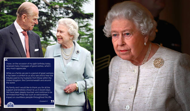 The Queen has released a statement thanking people for their support following the death of Prince Philip
