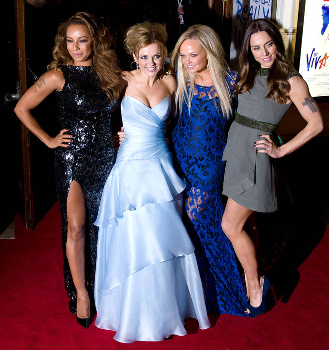 Mel B pictured with Geri, Emma and Mel C at the 2012 premiere of the Viva Forever musical