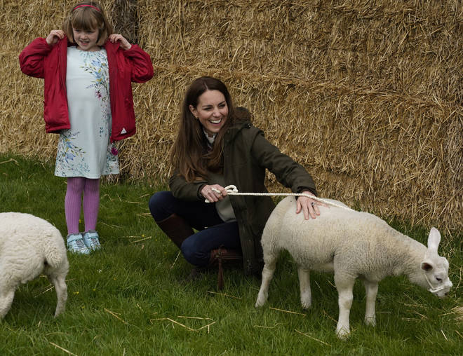 Kate and William were given a tour around the farm where they met some of the animals