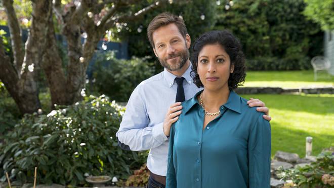 Jamie Bamber as Sam and Priyanga Burford as Karen in Innocent