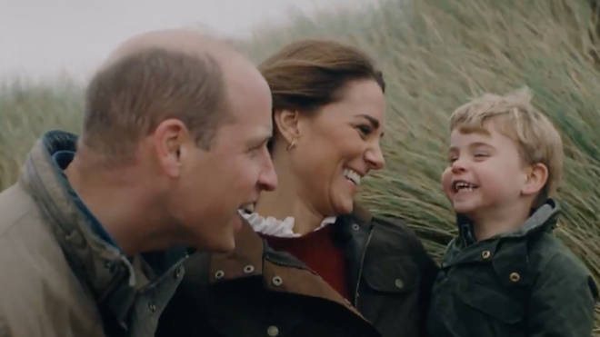 Prince Louis appears to be finding his voice as he chats to William and Kate on the beach