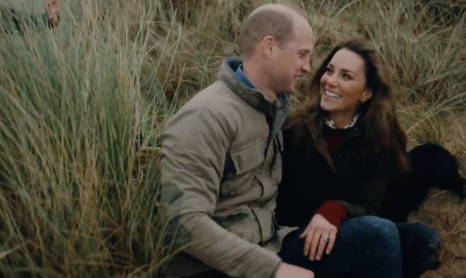 Kate and William looked lovingly at one another as they sat on the beach