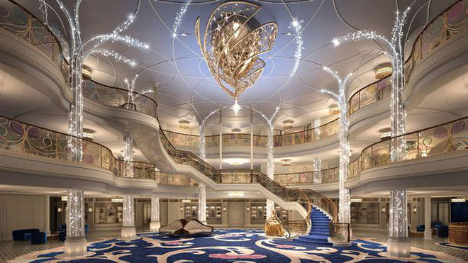 The Disney Wish cruise ship has a stunning Grand Hall