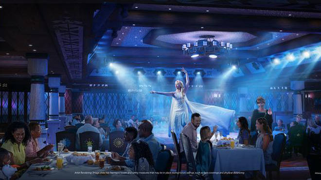 There is a Frozen-themed restaurant in the Disney cruise ship