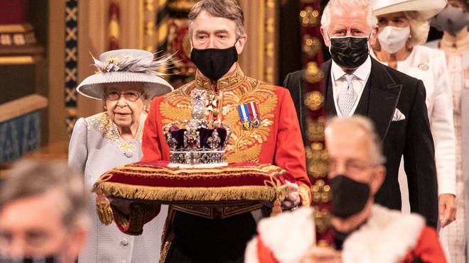 The Queen was joined by her son, Prince Charles, at the House of Lords