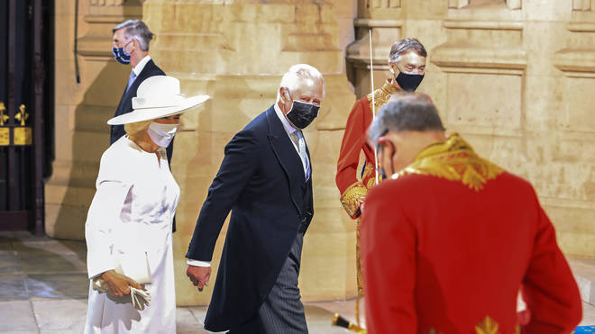 Prince Charles and Camilla joined the Queen in Westminster today