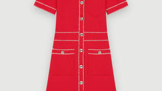 Holly Willoughby is wearing a Maje Paris red knit dress today