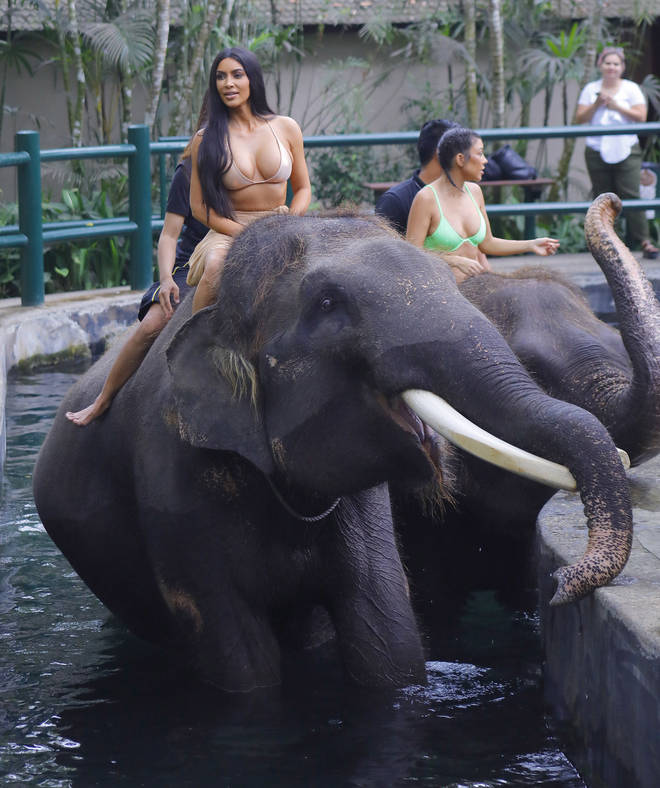 Kim Kardashian was seen riding an elephant during a family holiday in Bali