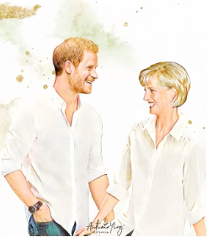 Diana and Harry laugh in this painting of what could have been