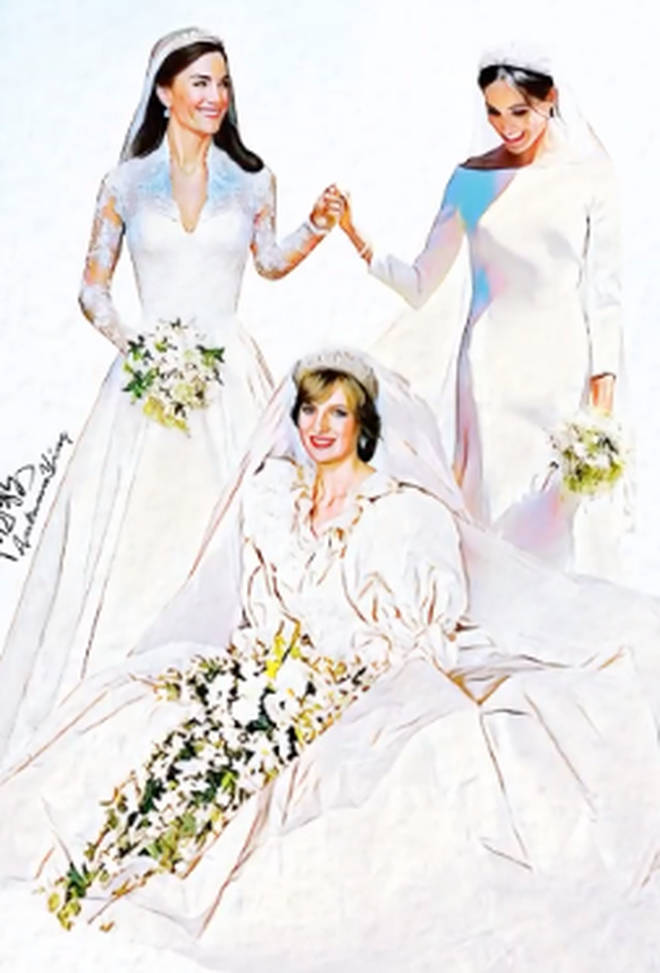 Diana, Meghan and Kate pose together in their wedding gowns