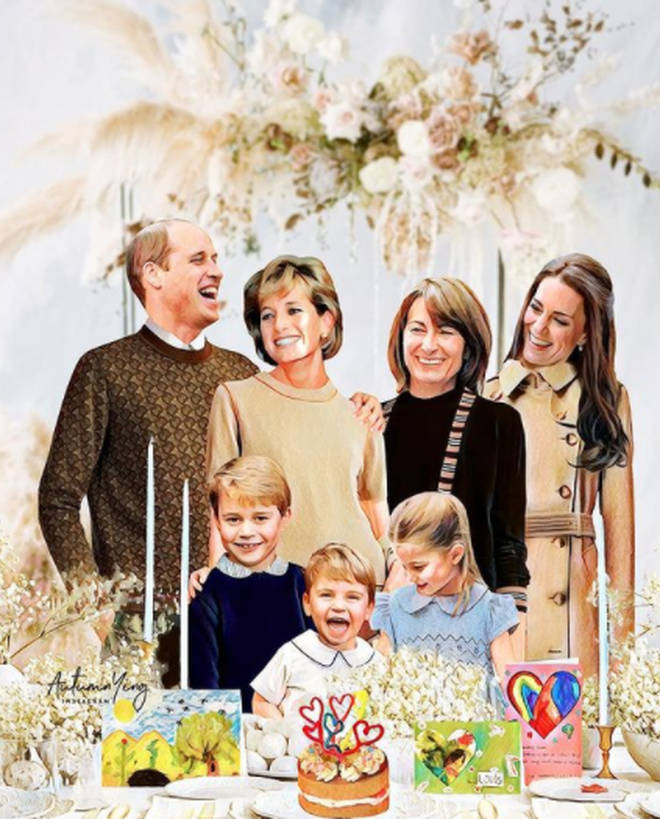 Diana spends a birthday with Kate, William and their children