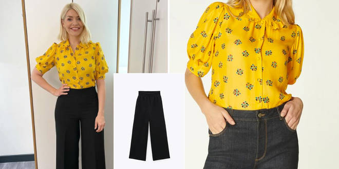 Holly Willoughby is wearing trousers from Zara on This Morning today