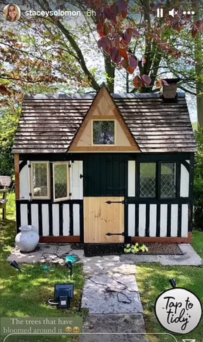 Stacey decided to give her Tudor-style Wendy House a lick of paint