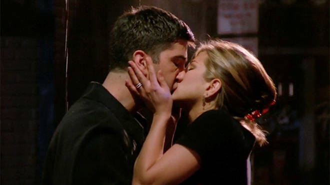 Ross and Rachel's first kiss in Friends