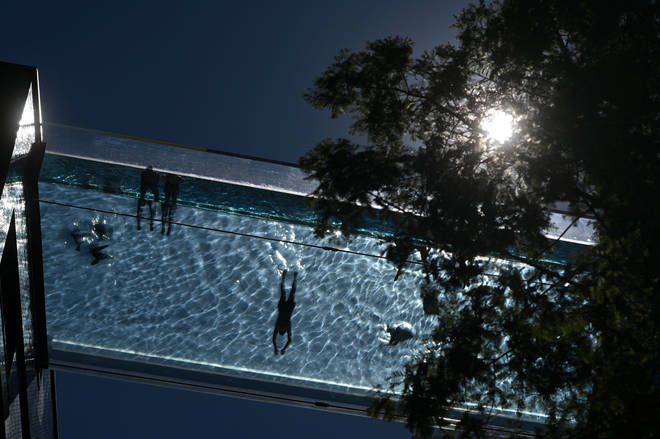 The floating swimming pool holds 400 tons of water