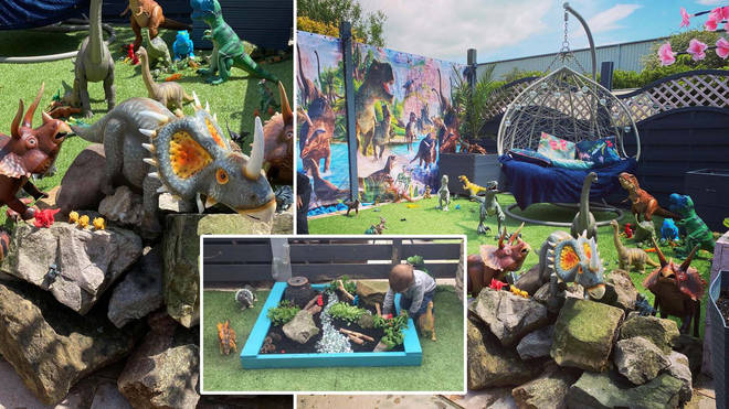 The mum transformed the garden for her son