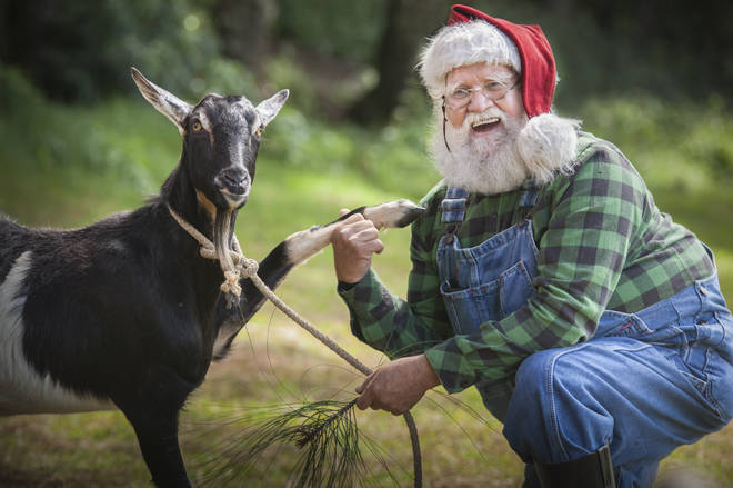 Father Christmas gets to grips with farm life
