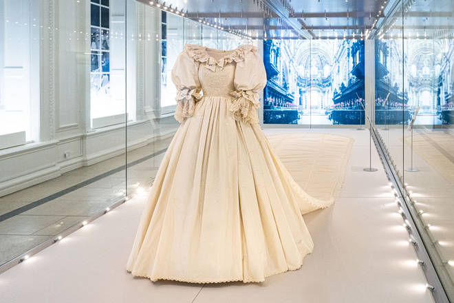 The dress featured a 25ft long train, which remains the longest in royal bridal history