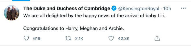 Prince William and Kate Middleton's tweet to Harry and Meghan
