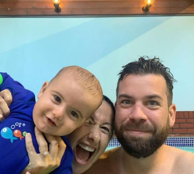 Hayley Tamaddon, her partner Adrian and their son Jasper