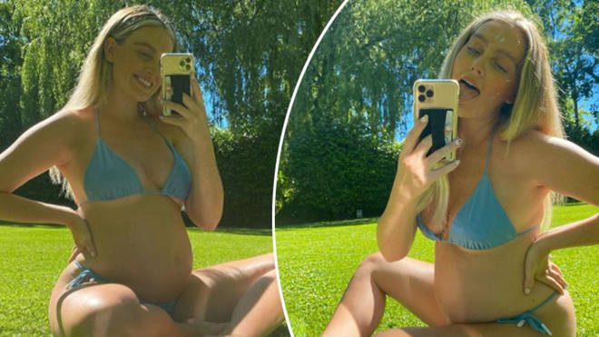 Perrie Edwards has shown off her growing baby bump