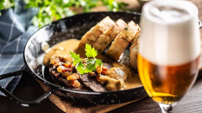 Svíčková na Smetaně is a Czech dish made up of steak and dumplings