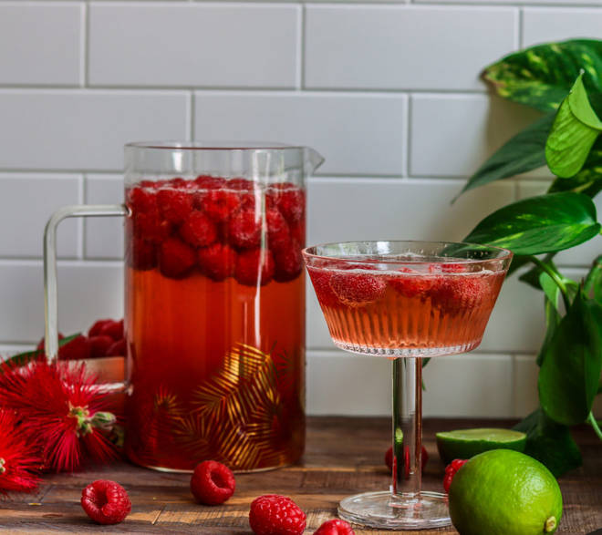This raspberry sangria is perfect for a hot day watching football