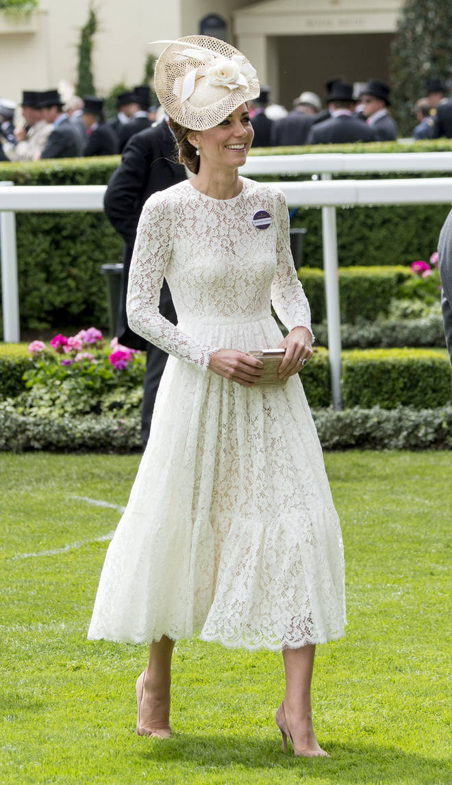 The Duchess of Cambridge opted for a white Dolce & Gabbana dress for her first visit to Royal Ascot