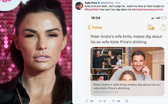 Katie Price has hit out at Peter Andre's wife Emily