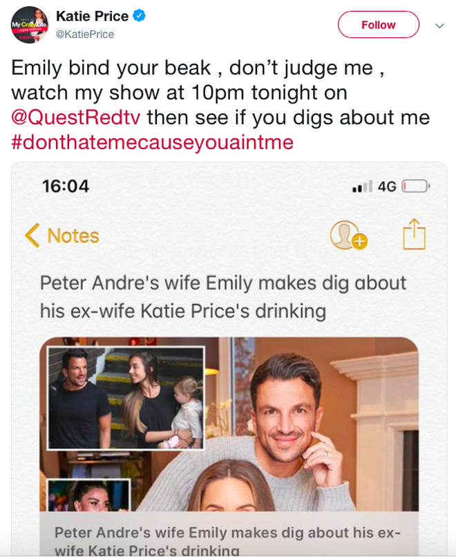 Katie Price tells Peter Andre's wife Emily 'bind your beak