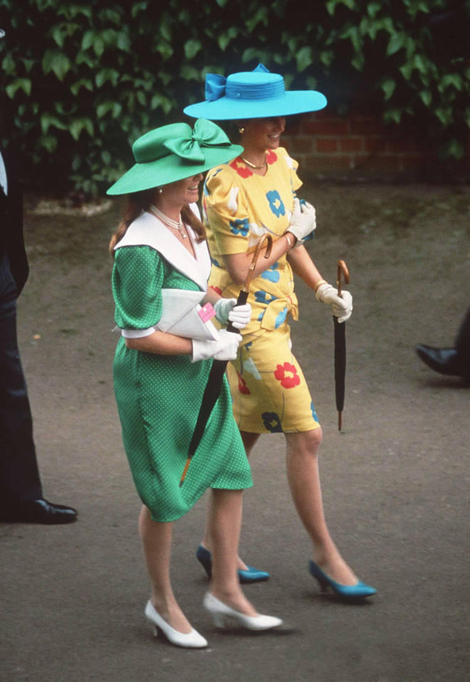 Diana and Fergie dressed in bold colours and prints for Royal Ascot in 1987
