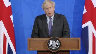 Boris Johnson at Monday's Downing Street press conference