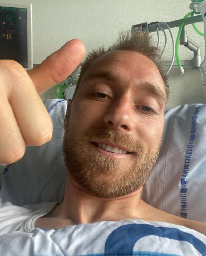 Christian Eriksen looked in good health as he shared a selfie from hospital