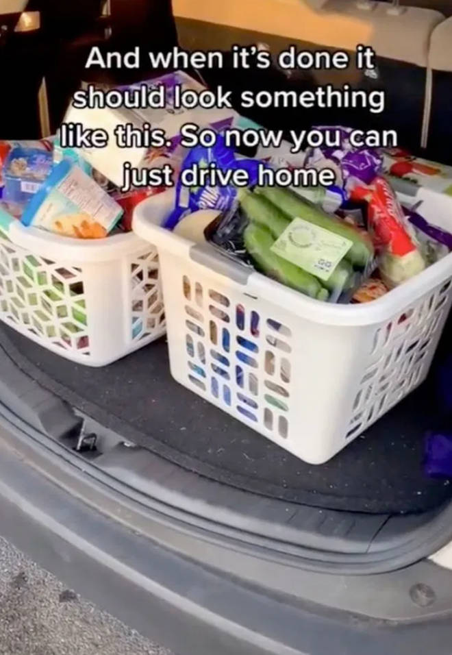 The man uses laundry baskets to speed up his shopping