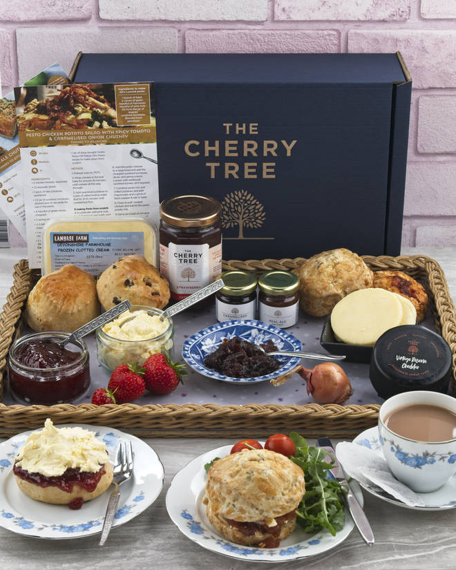 This delicious afternoon tea kit comes with clotted cream, cheese and scones